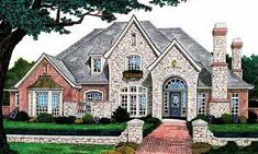 English Country Style House Plans - 3383 Square Foot Home , 2 Story, 4 Bedroom and 3 Bath, 3 Garage Stalls by Monster House Plans - Plan 8-519