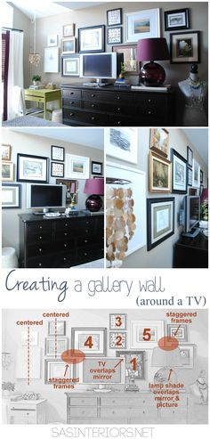 Creating a gallery wall behind a TV + tips on how to implement your own gallery wall. So many ideas  inspiration on this blog!