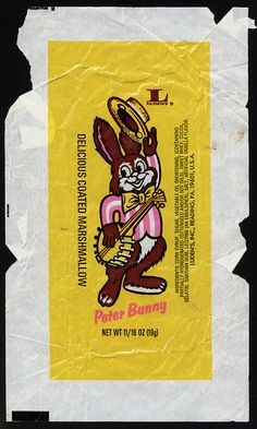 Ludens - Peter Bunny - delicious coated marshmallow - candy wrapper - 1970s