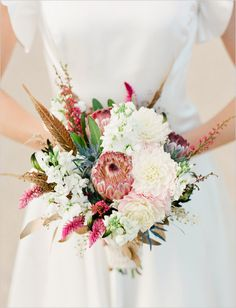 feather wedding bouquet