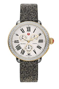 MICHELE Diamond Two-Tone on Black with Gold Crystal Strap