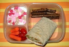 lunch idea, banana, pretzel, kid lunches, lunch boxes, wheat wrap, peanut butter, cereal, yummi lunch