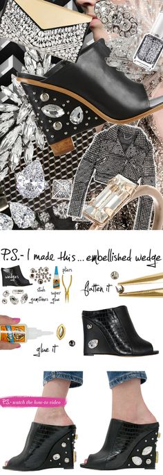 Watch how to embellished a pair of wedge sandals with PS I Made This! #video #tutorial #howto #upcycle #fashion