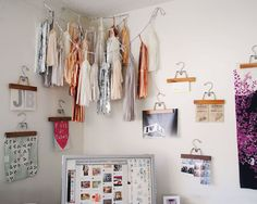 Clothes hangers used to display art apartment deocr #decor #home