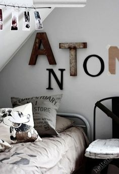 black n white, kids room boy, industri letter, big boys, kid rooms, letters, little boys, big boy rooms, babies rooms