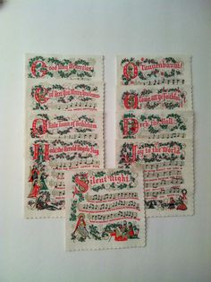 Christmas Carols Paper Cocktail Napkins by TheDearestDollhouse, $12.50