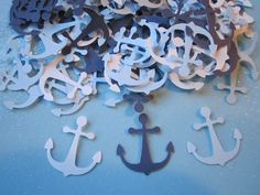 FREE SHIPPING to the U.S.  100 pc White, Light Blue, Dark Blue Paper Anchors     Baby shower,  Confetti, Party. $4.50, via Etsy.