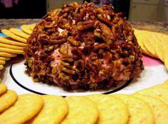 Cranberry Orange Cheese Ball w/ Caramelized Pecans