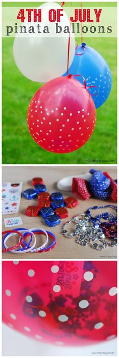 4th of July Pinata Balloons are filled with fun treats for Independence Day! #redwhiteblue #independenceday #julyfourth #4thofjuly #patriotic #diy