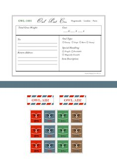 Stamps and form for sending post via owl.  Harry Potter