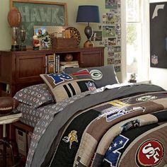 bedding, quilt, pbteen, teen rooms, bedroom furniture, nfl, teen boys, boy room, teen boy bedrooms