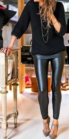 Sexy Black fashion, style, heel, outfit, knit sweater, leather pants, leather leggings, shoe, black