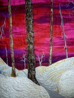 Red Dawn an original art quilt wall hanging