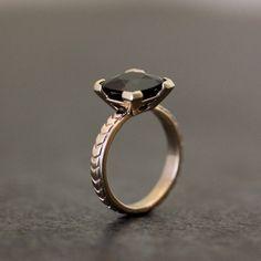 spinel cushion, deco inspir, gemstone rings, inspir black, black gemston, black spinel, cushion gemston, art deco, gemston ring