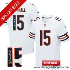 $129.99 Men's Nike Chicago Bears #15 Brandon Marshall Elite Away White NFL Alternate Autographed Jersey