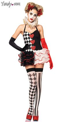 The two-piece, Sweetheart Harlequin costume includes a halter-style, tutu dress with a matching ruffle neck piece.