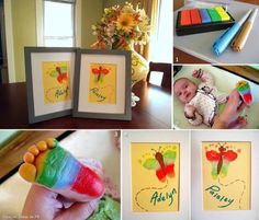 This is so adorable !! Make sure you use non-toxic materials   Butterfly foot art http://www.sawdustandembryos.com/2011/10/crafting-with-twinfants.html