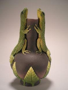 Two lizard vase by Nancy Yturriaga Adams