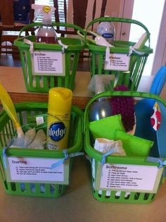 Cool idea-Organize cleaning supplies by task so all the boys can help at once in different areas.