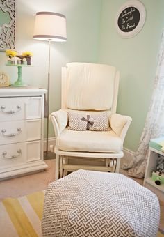 Mint Green and Yellow Nursery... with white dresser...soft sheer curtains! So fresh and clean wall colors, nursery colors, wicker baskets, green walls, color schemes, green nurseri, green and yellow nursery, glider, mint green with yellow