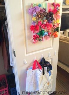 Keep hair bows and accessories handy where your kids finish getting ready for the day! Simple, life-saving tip from FunCheapOrFree.com