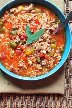 Stuffed Pepper Soup. Super easy and perfect for cold nights like this.