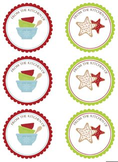 Round Holiday Kitchen Labels :: Free Printables