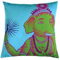 55x55cm cushion, elephants, bazaar ganesh, bazaar pillow, ganesha pillow, turquoise, turquois cotton, cushion cover, decorative pillows