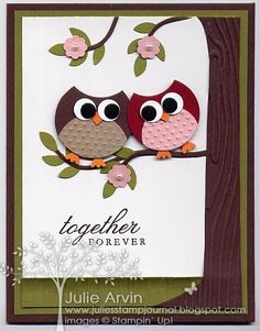 Owl Anniversary punch art card by Julie Bug - Cards and Paper Crafts at Splitcoaststampers