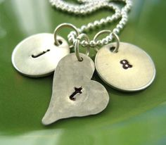 stamped initial necklace - great gift!