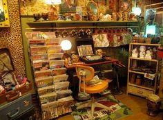 Interior of a vintage shop in Montreal.