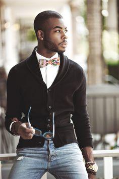 cardigan bow tie jeans