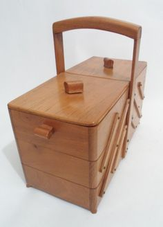 Vintage Cantilever Wooden Wood Sewing Craft Art Box Circa 1950s Art Deco Display Storage Basket #FollowVintage