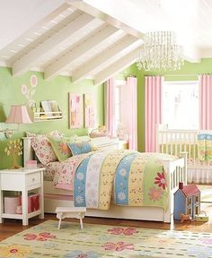 love the colors - so bright and cheery. perfect for a girl's room. * big girl bed and crib.. matching bedding