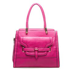 bright pink structured handbag