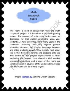 Math Scrapbook Rubric  from shiles on TeachersNotebook.com -  (2 pages)  - This rubric is used along with the math scrapbook project. It is based on a 100-point grading system. The amount of points can be increased or decreased for that matter depending upon your student(s).