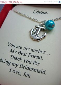 30 off SALE Anchor Bridesmaids Gift Necklace Free by buysomelove, $10.50