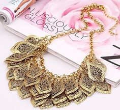 gold, bib  necklace.