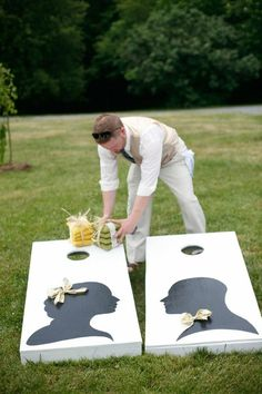 """Personalized """"cornhole"""" game for outdoor wedding reception"""