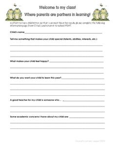 parent form, children, getting to know your students, begining of 4th grade, teacher, student parent questionnaire, get to know your students, school idea, 4th grade blogs