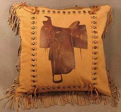 Saddle Image Western Pillow Deerskin Leather Pillows
