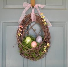 Easter Wreath - Nest with Crackle Easter Eggs and Spanish Moss with floral.