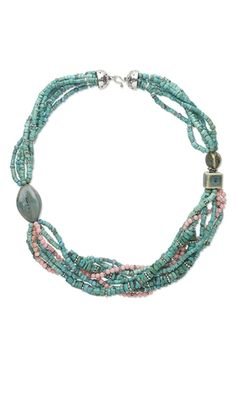 Multi-Strand Necklace with Turquoise Gemstone Beads, Sterling Silver Beads and Porcelain Beads - Fire Mountain Gems and Beads