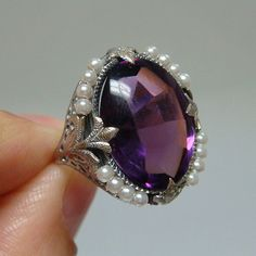 Antique Victorian 10ct Amethyst & Seed Pearl  circa 1890-1920