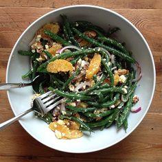 Green Bean Salad with Citrus, Feta & Walnuts by williamssonoma: Inspiration! #Salad #Green_Beans #Citrus #Feta