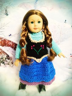 Disney Frozen Anna Inspired Dress and Vest for American Girl Dolls