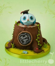 teacher appreciation, tree stumps, profess cake, appreci cake, owl cakes