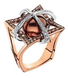 Ring | Aurum Design. Pink gold, diamonds, Chocolate south sea pearl