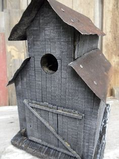 Rusty birdhouse.