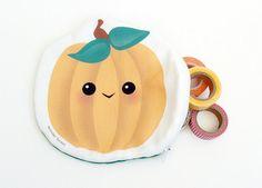 Pumpkin Pouch  Cute Kawaii Style Zipper Clutch by WonderForest